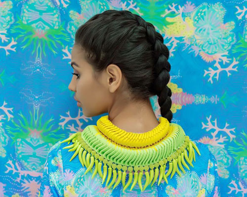 Grace uses both Torres Strait Island artistry and craftsmanship in her wearable designs.